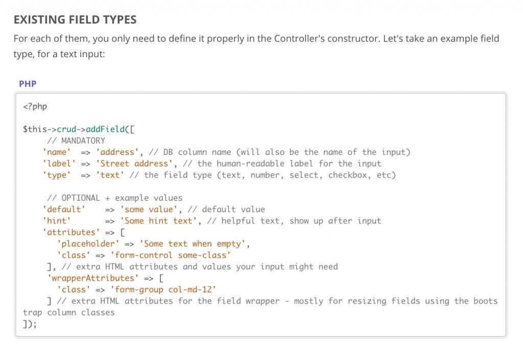 Laravel Backpack documentation