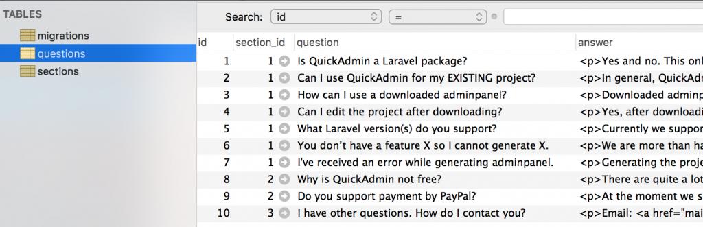 quickadminpanel faq migrations