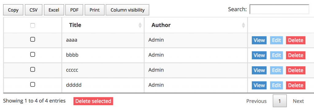 This is how default Datatable looks like.