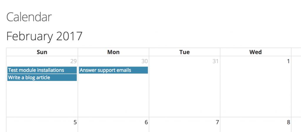 tasks calendar module