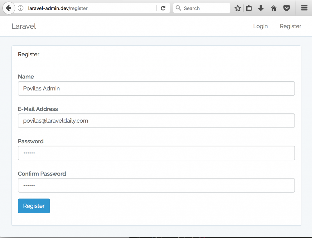 laravel register
