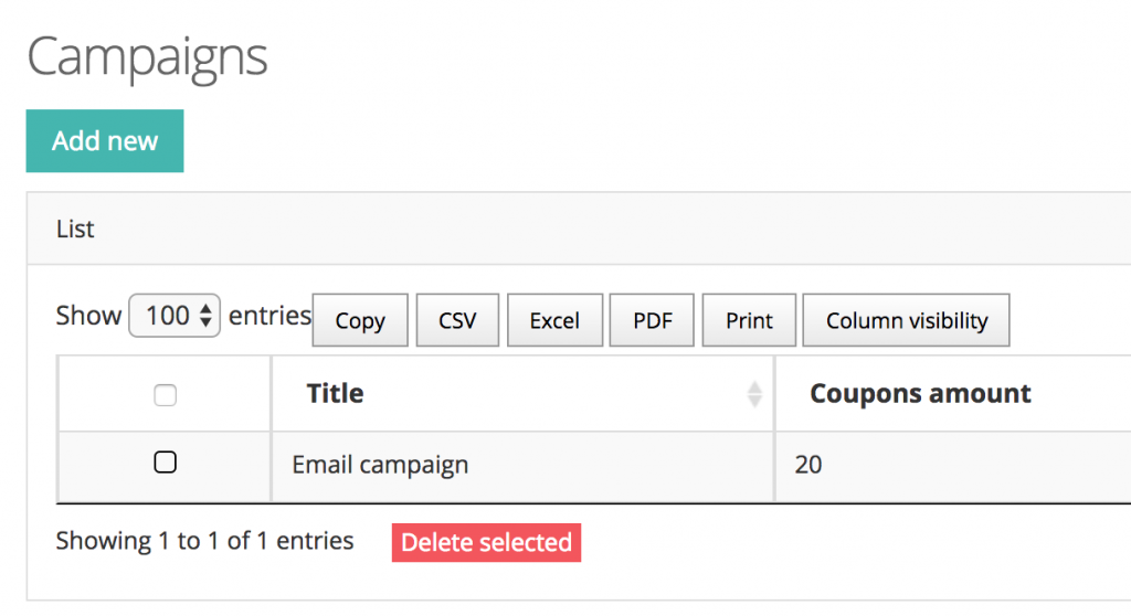 quick admin panel coupons campaigns