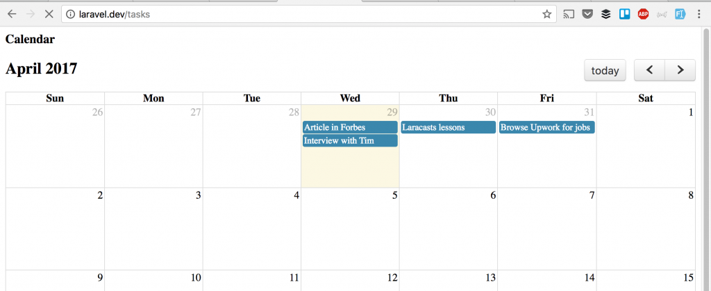Tasks Calendar with Laravel + FullCalendar + QuickAdminPanel