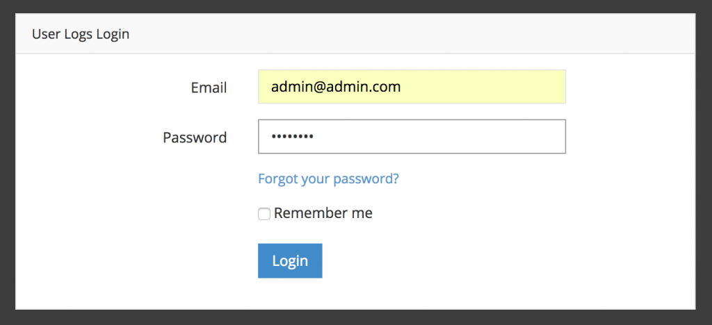 admin panel login laravel