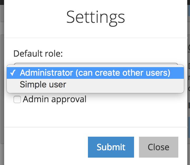 admin panel register settings