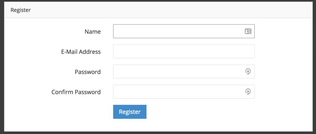 admin panel register