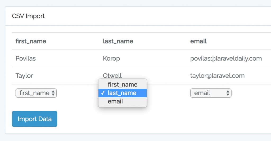 How to import CSV in Laravel and Choose Matching Fields