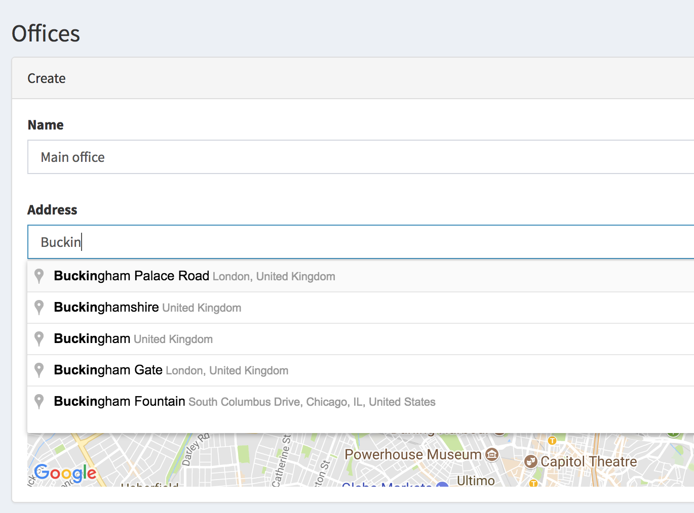 """New field type """"Location"""": pick address from Google Maps – Quick"""
