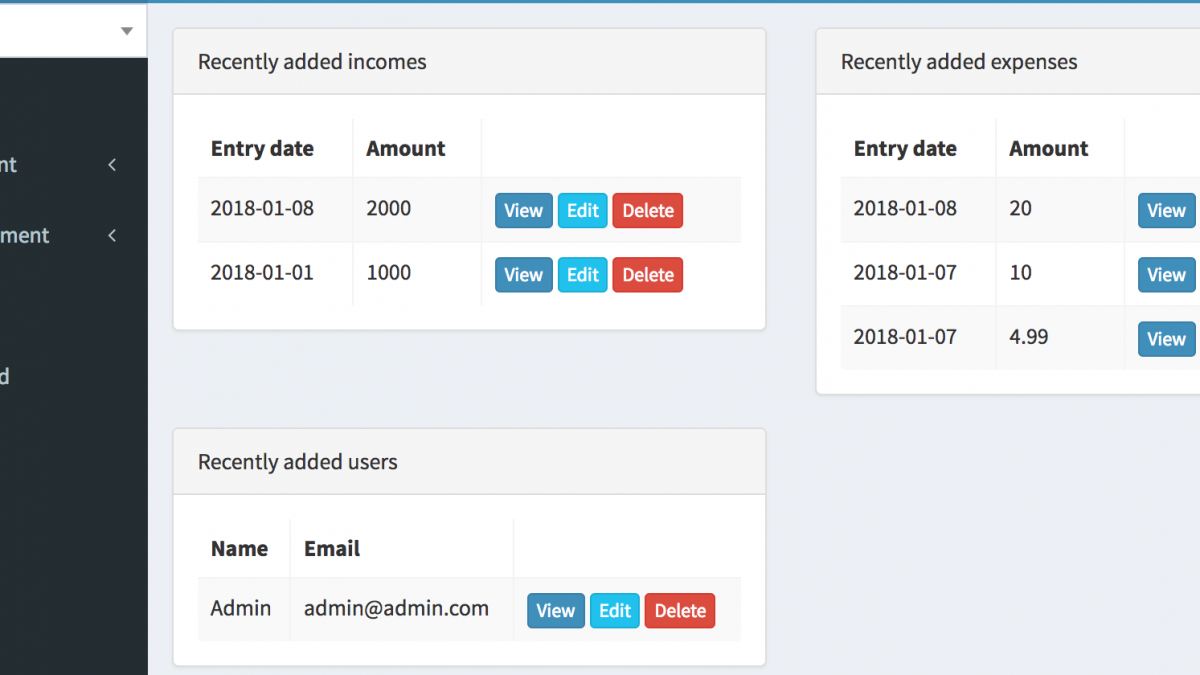"New module ""Dashboard Widgets"": see latest CRUD entries"