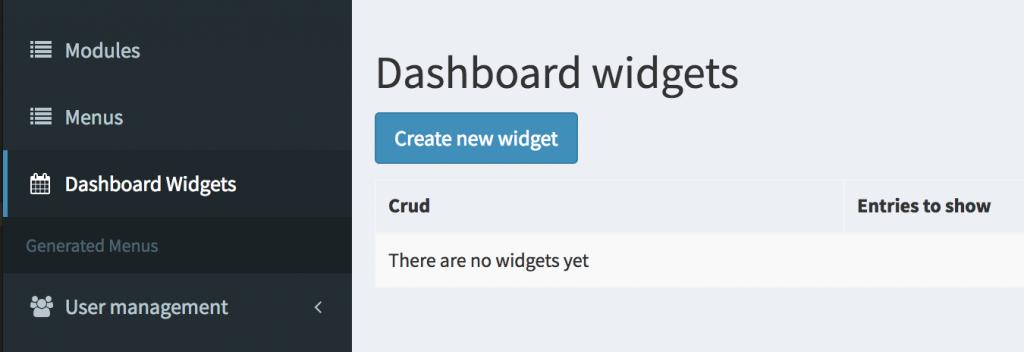 "New module ""Dashboard Widgets"": see latest CRUD entries after login"