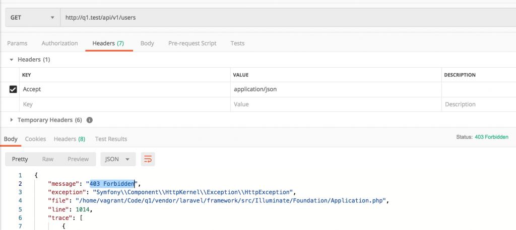 Laravel API 403 Forbidden