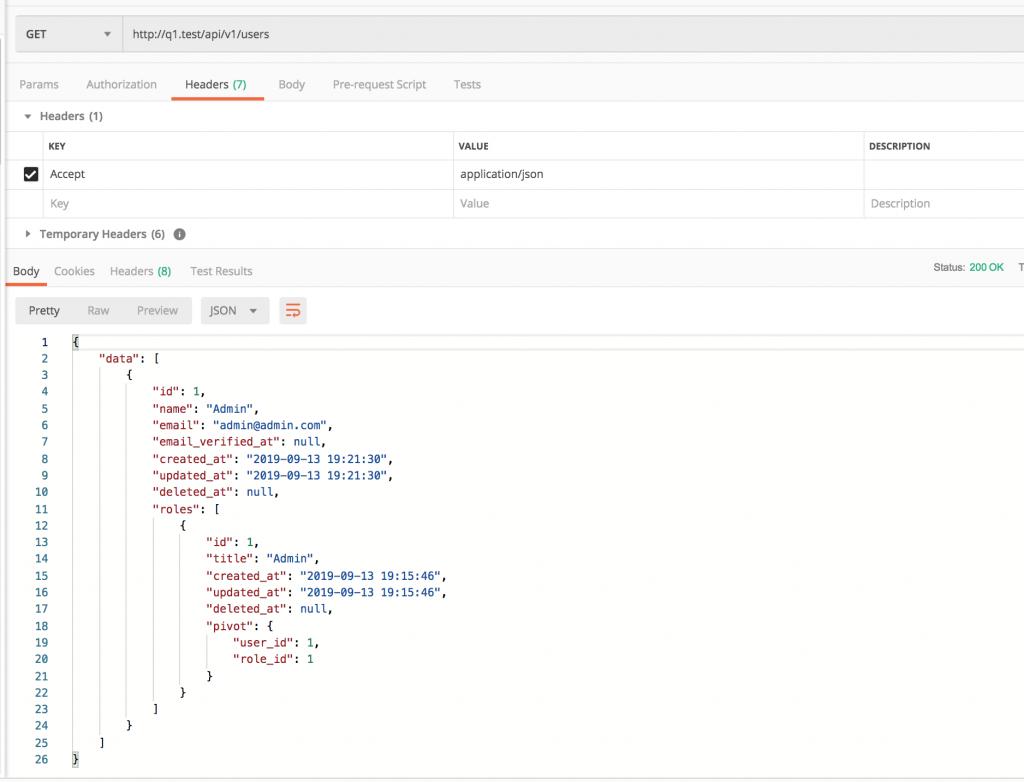 Laravel API 200 Status