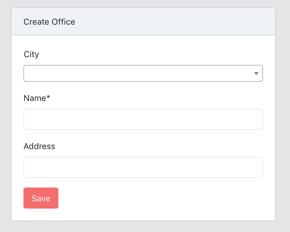 Laravel new office form