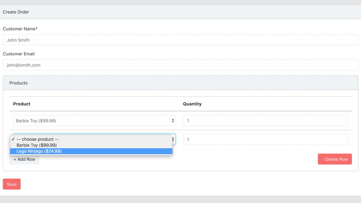 Master-Detail Form in Laravel + jQuery: Create Order With