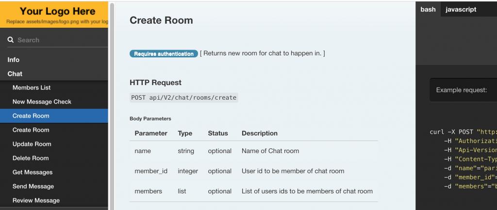 Laravel API documentation