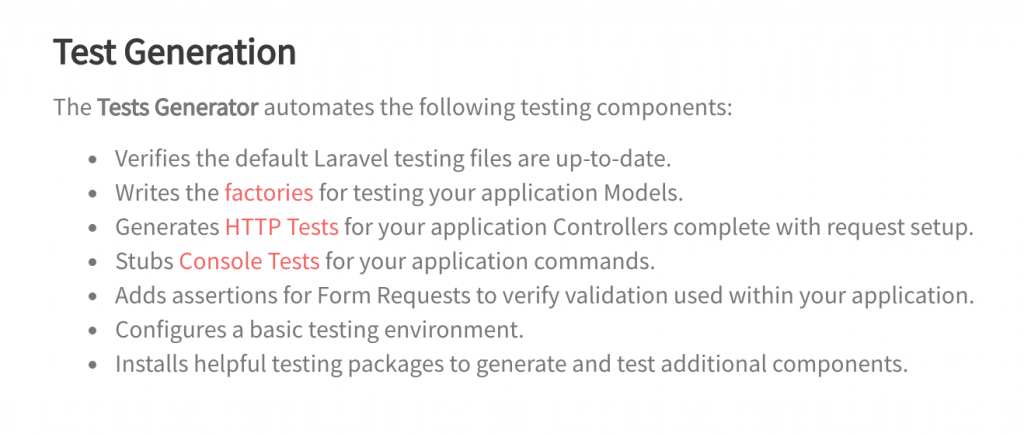 Laravel tests generator