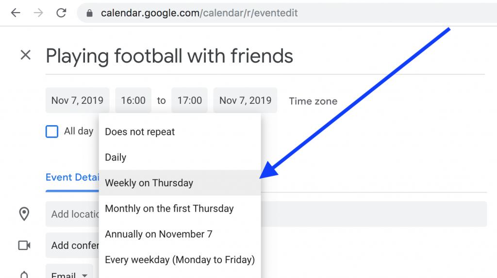 google calendar recurring events