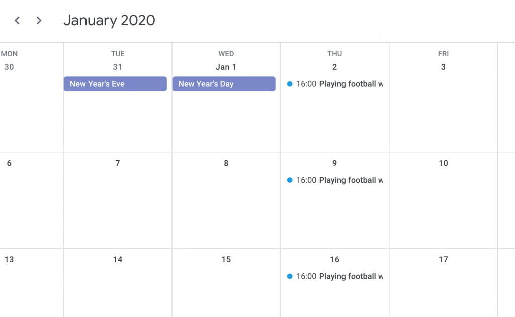 google calendar recurring events view