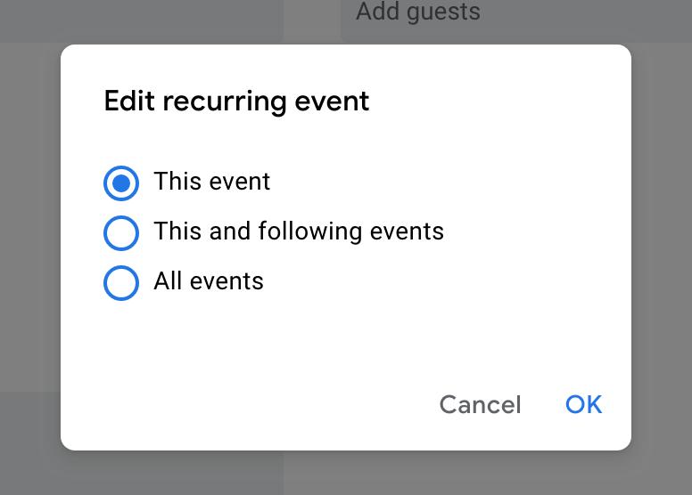 google calendar recurring event edit