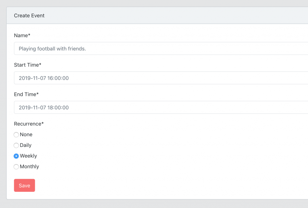 Laravel calendar recurring events