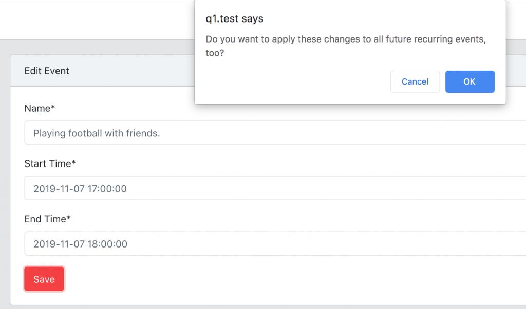 Laravel recurring events update