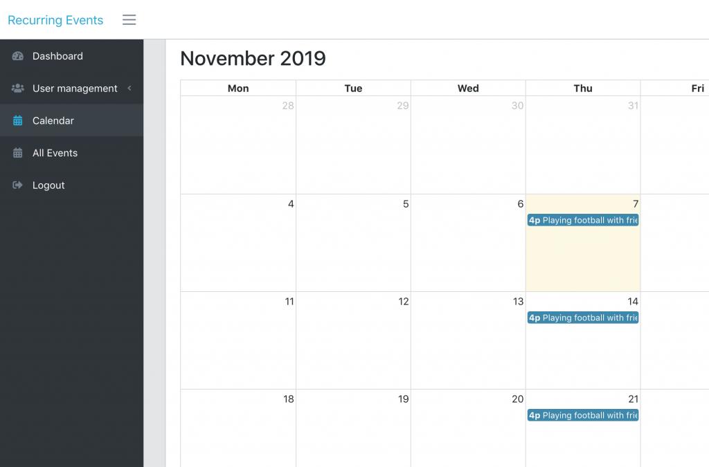 Laravel FullCalendar recurring events