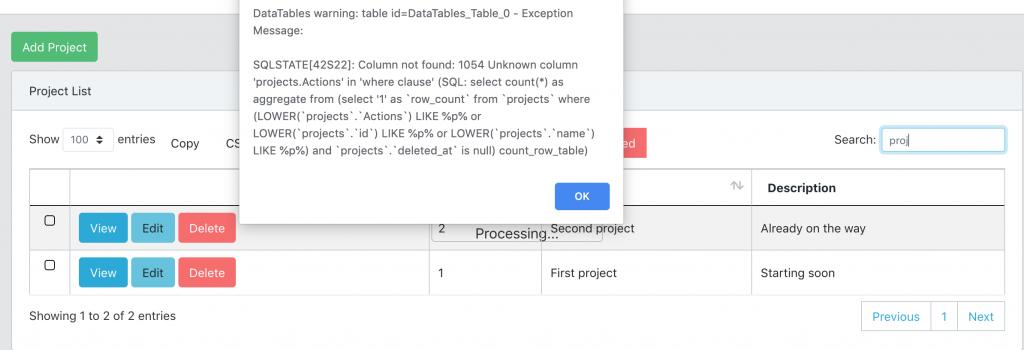 AJAX Datatables Search Error