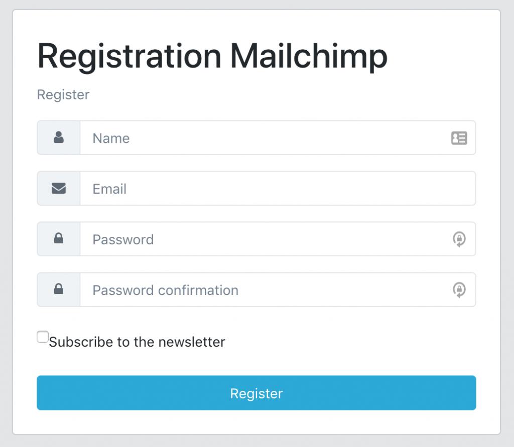 Laravel registration form CoreUI