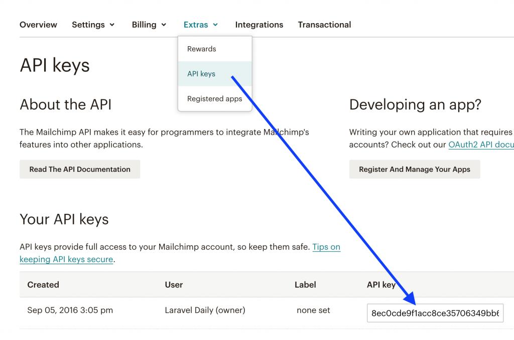 Mailchimp get API Key