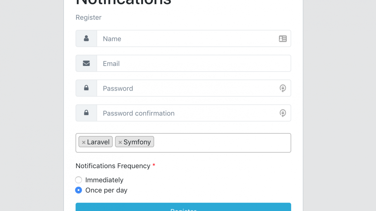 Laravel register notifications