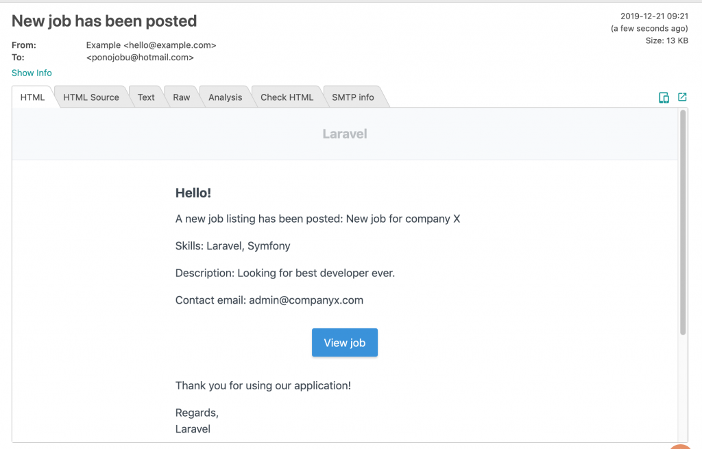 Laravel email notification