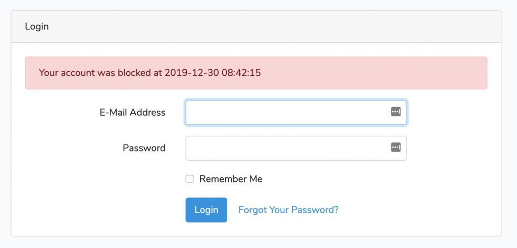 Laravel login user block