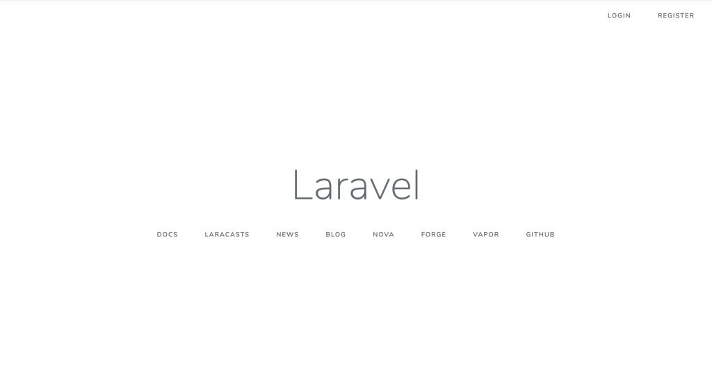 Laravel default homepage