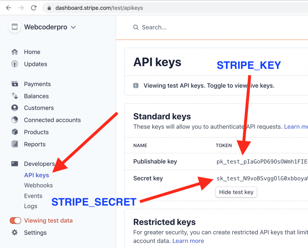 Stripe Dashboard Laravel Keys env